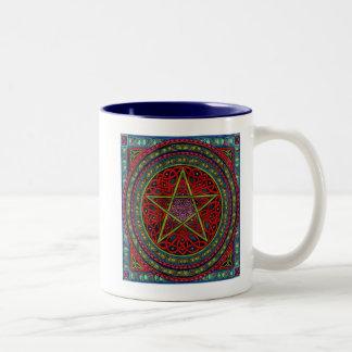 celtic pentagram 01 spellcraft Two-Tone coffee mug