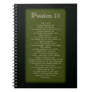 Celtic Psalm 23 on Mossy Green & Cream Lace Print Notebook