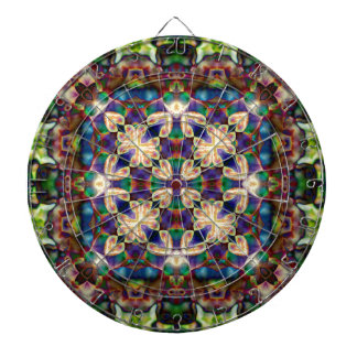 Celtic Rainbow Heart Stained Glass Mandala Dartboard