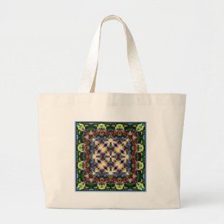 Celtic Rainbow Heart Stained Glass Mandala Large Tote Bag