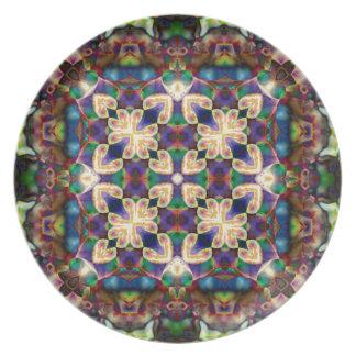 Celtic Rainbow Heart Stained Glass Mandala Plate