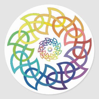 Celtic Rainbow Knotwork Rings Round Sticker