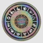 Celtic Rainbow Zodiac Mandala Classic Round Sticker