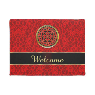Celtic Red Lace Welcome Door Mat