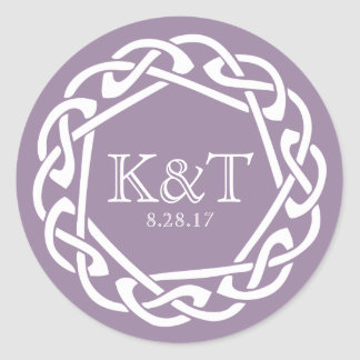 Celtic Ring Initials - Lilac Classic Round Sticker