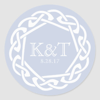Celtic Ring Initials - Mist Classic Round Sticker