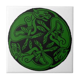 Celtic rond chien green tile