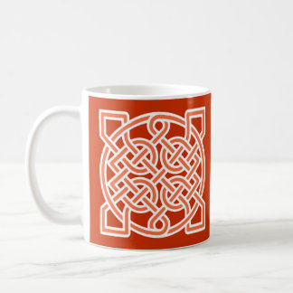 Celtic Sailor's Knot, Mandarin Orange and White Coffee Mug