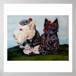 Celtic Scottish Terriers Poster