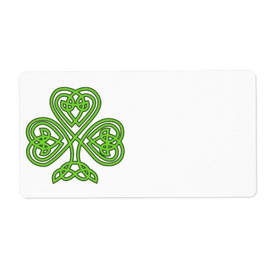 Celtic Shamrock Design Shipping Label