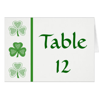 Celtic Shamrock Irish Wedding Table Number