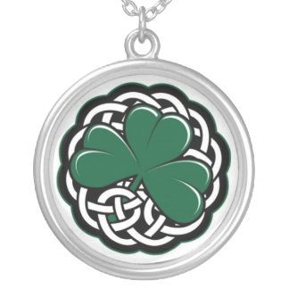 celtic shamrock silver plated necklace