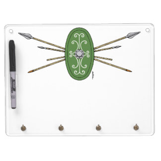 Celtic Shield and Spears Dry Erase Board With Keychain Holder