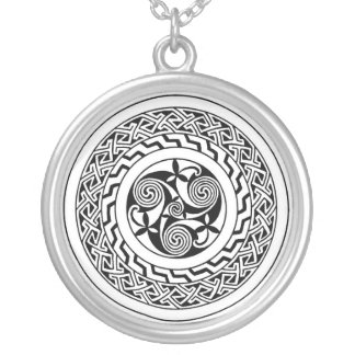 Celtic spiral silver plated necklace