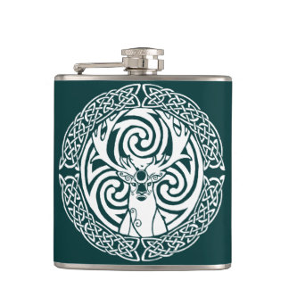 Celtic Stag in Snow Flasks