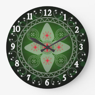 Celtic Styled Green Red And White Wall Clocks