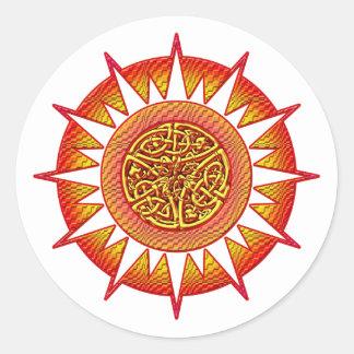 Celtic Sun 3 Classic Round Sticker