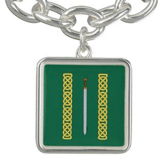 Celtic Sword and Knotwork Charm Bracelet