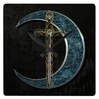 Celtic Sword and Moon Wall Clock