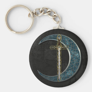 Celtic Sword and Moon with Grunge Wall Keychain