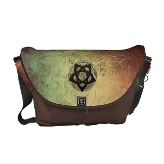 Celtic Symbols in Black and Gold on Faux Leather Courier Bag
