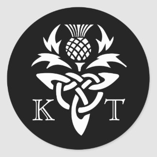 Celtic Thistle Initials - Black & White Round Sticker