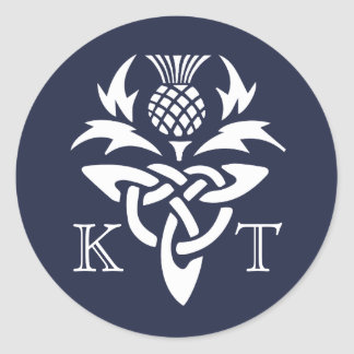 Celtic Thistle Initials - Navy Round Sticker