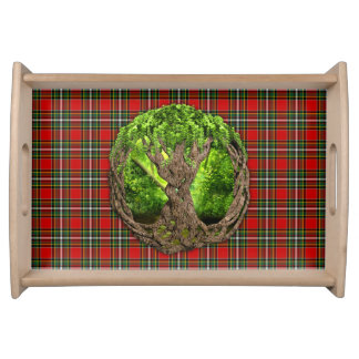 Celtic Tree Of Life Clan Gillespie Tartan Serving Platters