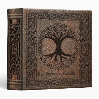 Celtic Tree of Life Embossed Leather 3 Ring Binders