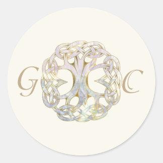 Celtic Tree of Life Wedding Envelope Seal Round Sticker