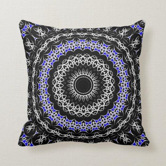 Celtic Tribal Mandala ( Blue ) Throw Pillow