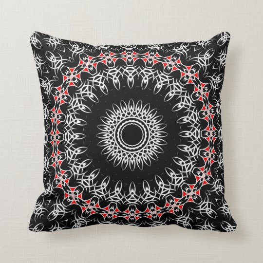Celtic Tribal Mandala ( Red ) Throw Pillow