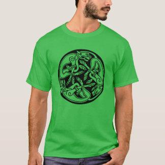 Celtic Trinity Dogs Irish Graphic Art T-Shirt