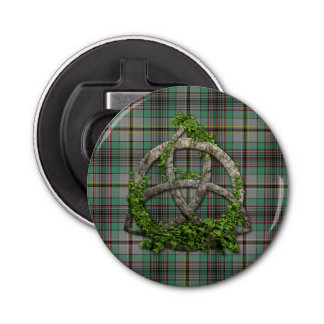 Celtic Trinity Knot And Clan Craig Tartan Button Bottle Opener