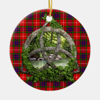 Celtic Trinity Knot And Clan Fraser Tartan Round Ceramic Ornament