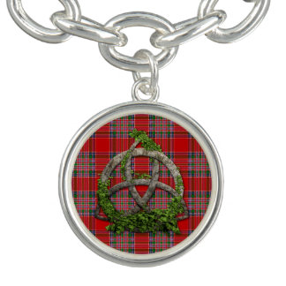 Celtic Trinity Knot And Clan MacBean Tartan Charm Bracelets