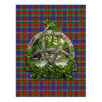 Celtic Trinity Knot And Clan MacBeth Tartan Postcard
