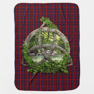 Celtic Trinity Knot And Clan MacLachlan Tartan Stroller Blankets