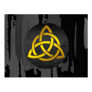Celtic Trinity Knot Black Gold Watercolor Postcard