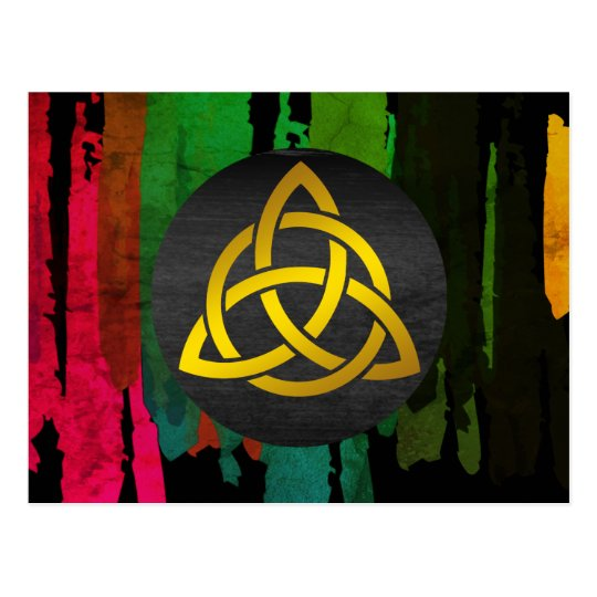 Celtic Trinity Knot Black Gold Watercolor Postcard