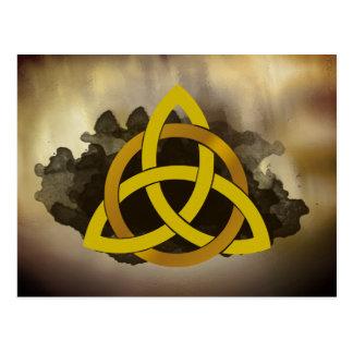 Celtic Trinity Knot Golden  Watercolor Postcard