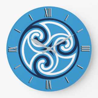 Celtic Triskele Ornament, Sky Blue and White Large Clock