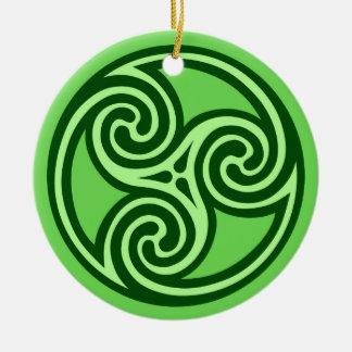 Celtic Triskele Pattern, Lime and Dark Green Ceramic Ornament