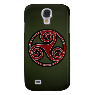 Celtic Triskelion or Triskele (red, black, white)