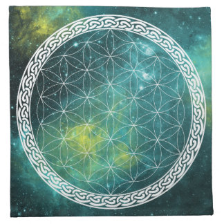 Celtic Universe Flower of Life Crystal Grid Cloth Napkin
