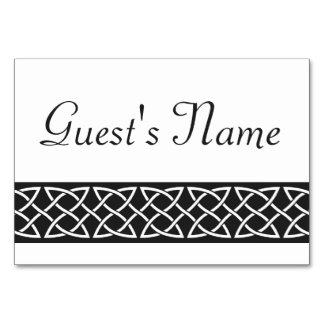 Celtic Weave Hearts in Black Table Card