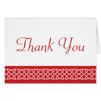 Celtic Weave Hearts in Cherry Thank You Card