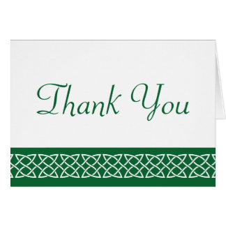Celtic Weave Hearts in Green Thank You Card