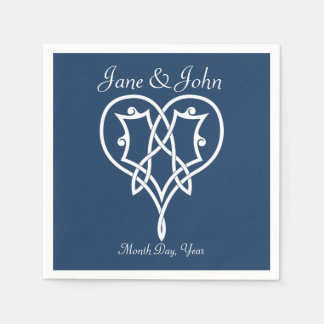 Celtic Weave Hearts in Navy Napkins Paper Napkins