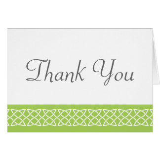 Celtic Weave Hearts in Peridot Thank You Card